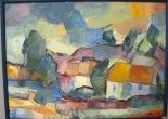 Landsbyen. Maleri af Alexsandar Hajder. 76 x 56 cm.