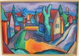 Stilheden. Maleri af Aleksandar Hajder.103 x 73 cm