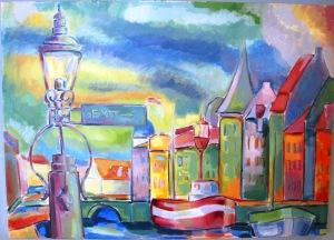 Nyhavn. Maleri af Aleksandar Hajder.