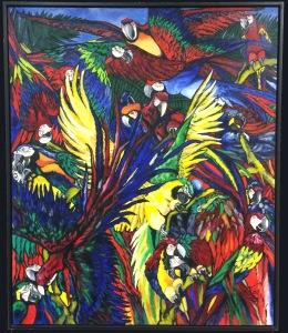 Eliana Ramirez: Papegøjer. Olie på lærred. 100x120 cm