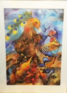 Mette Hansgaard: Sangfugl. Akvarel, 70x90.