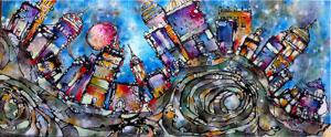 Etsuko Oide: Landscape 2. Acryl på lærred. 60x140 cm