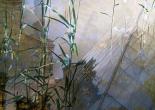 Josephine Ernst: Berlin - Blå dør og frostblade. Foto på lærred. 84x84.